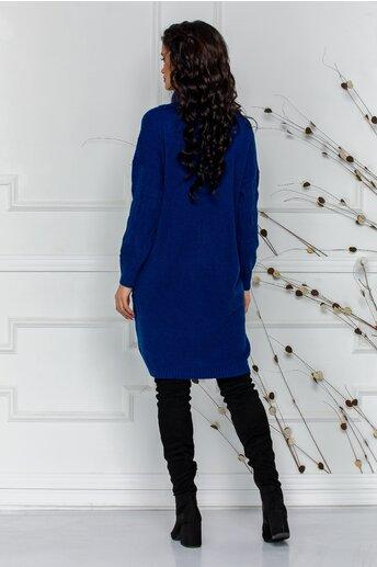 Rochie Melanie bleumarin din tricot cu guler inalt