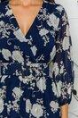 Rochie Mina bleumarin cu imprimeu floral si curea in talie