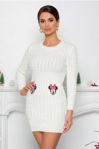 Rochie Minnie alba din tricot cu design impletit
