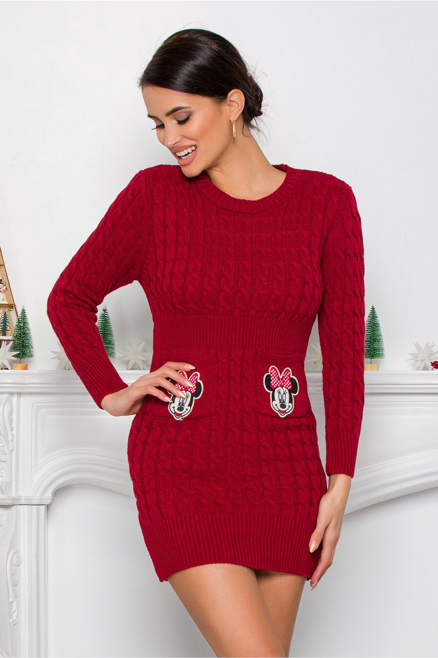 Rochie Minnie bordo din tricot cu design impletit