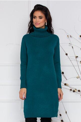 Rochie Mira verde petrol lejera din tricot