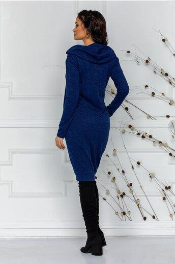 Rochie Moze albastra din tricot cu gluga si buzunare