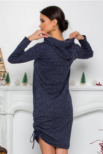 Rochie Moze bleumarin din tricot cu gluga si buzunare