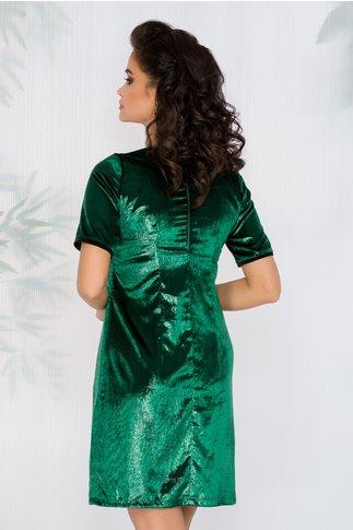 Rochie Moze din catifea peliculizata verde cu fundite aplicate in zona bustului