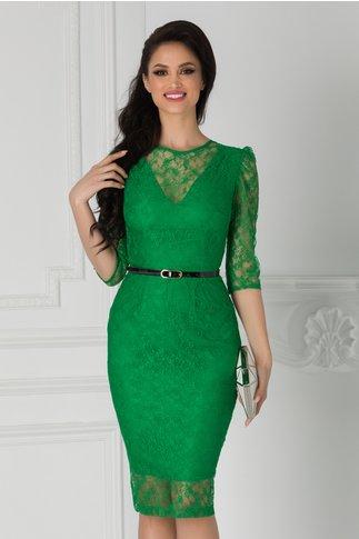 Rochie Moze din dantela verde cu curea in talie
