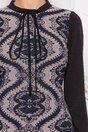 Rochie Moze Flory neagra cu imprimeu floral in fata