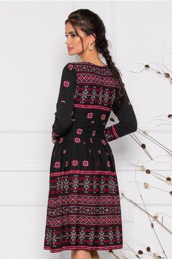 Rochie Moze neagra cu motive traditionale romanesti rosii