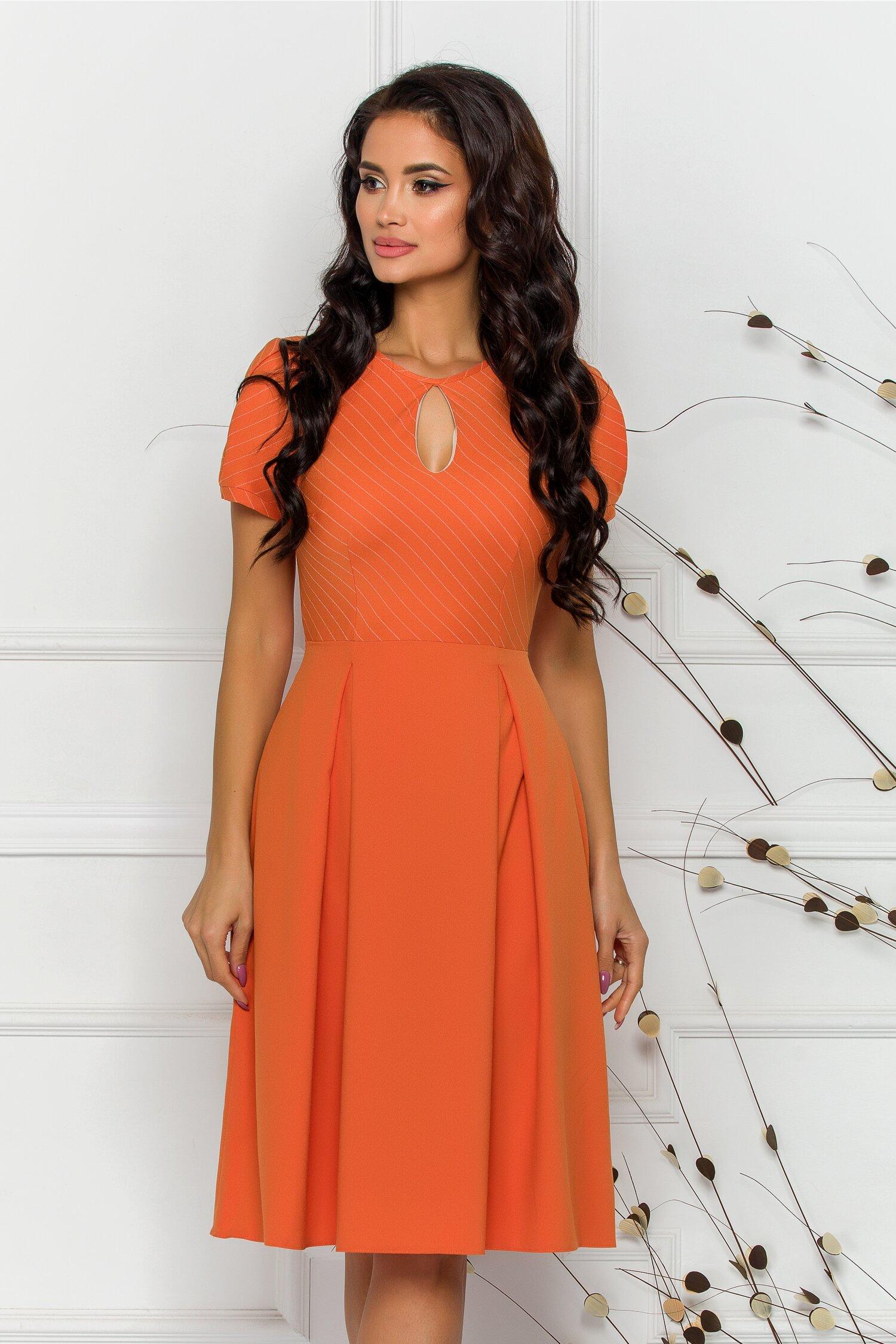 rochie moze orange cu imprimeu in dungi discrete 598415 4