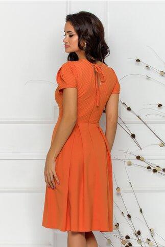 Rochie Moze orange cu imprimeu in dungi discrete