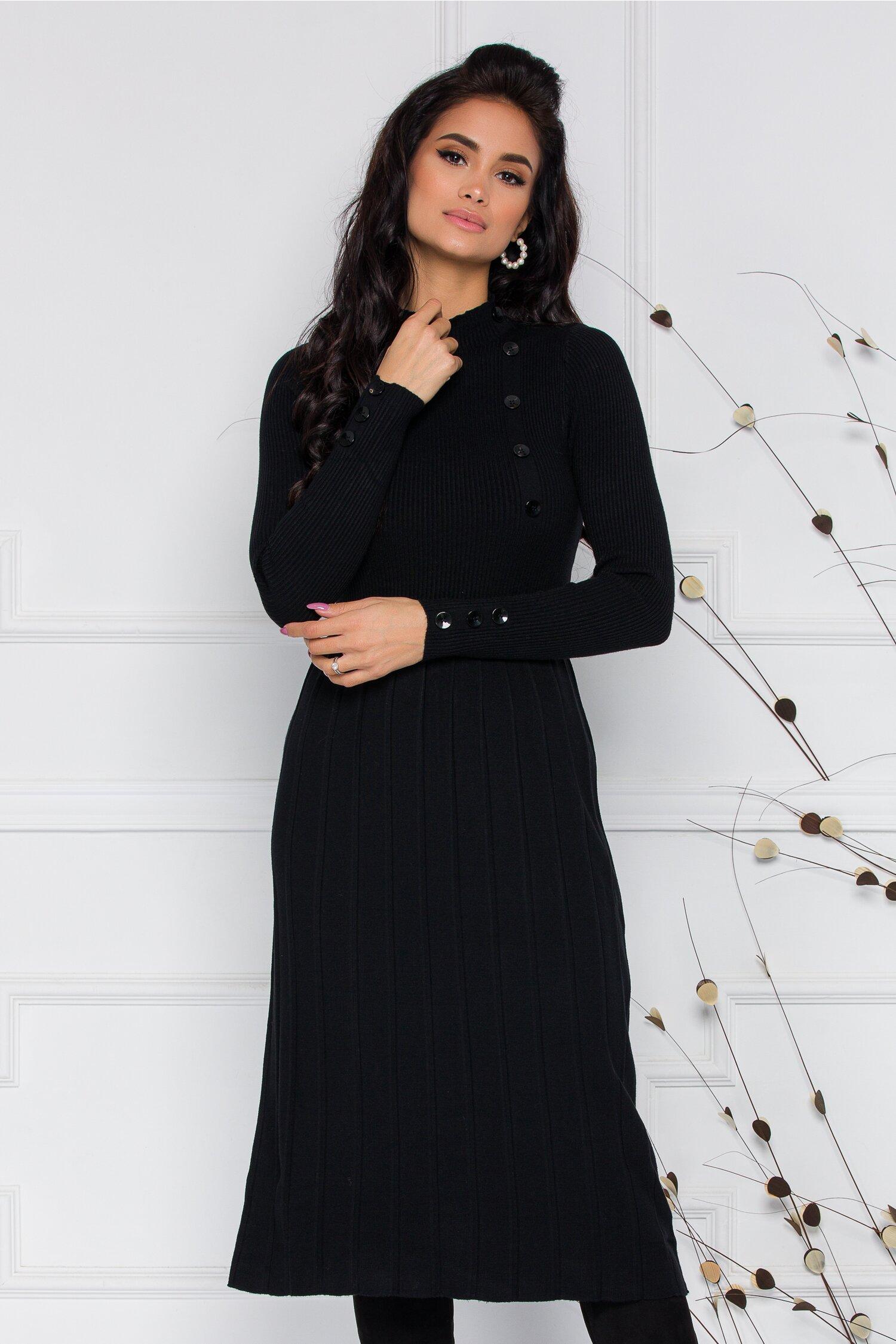 Rochie Natalia neagra din tricot cu nasturi decorativi la bust