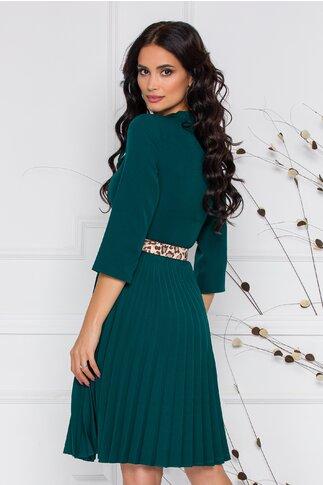 Rochie Pamela verde inchis cu detaliu tip panglica si fusta plisata