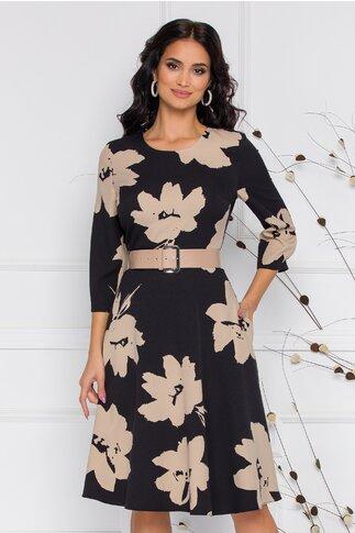 Rochie Patricia neagra cu imprimeuri florale bej
