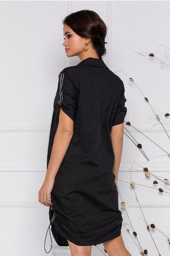 Rochie Ramona tip camasa neagra cu elastic reglabil pe laterale