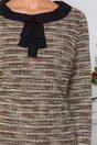 Rochie Ramonique cu imprimeu in dungi si funda la baza gatului