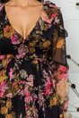 Rochie Rizzie neagra cu imprimeuri florale si decupaje in talie