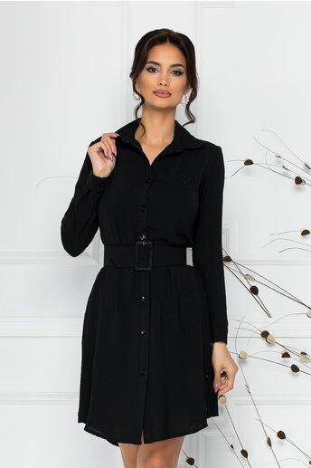 Rochie Rose tip camasa neagra cu nasturi si curea