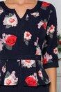Rochie Sabrina bleumarin cu imprimeu floral in nunate de roz si rosu