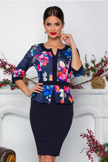 Rochie Sabrina bleumarin cu imprimeuri florale multicolore