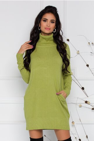 Rochie Sabrina din tricot verde lime cu buzunare si guler inalt