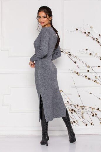 Rochie Sabrina midi gri din tricot cu design impletit