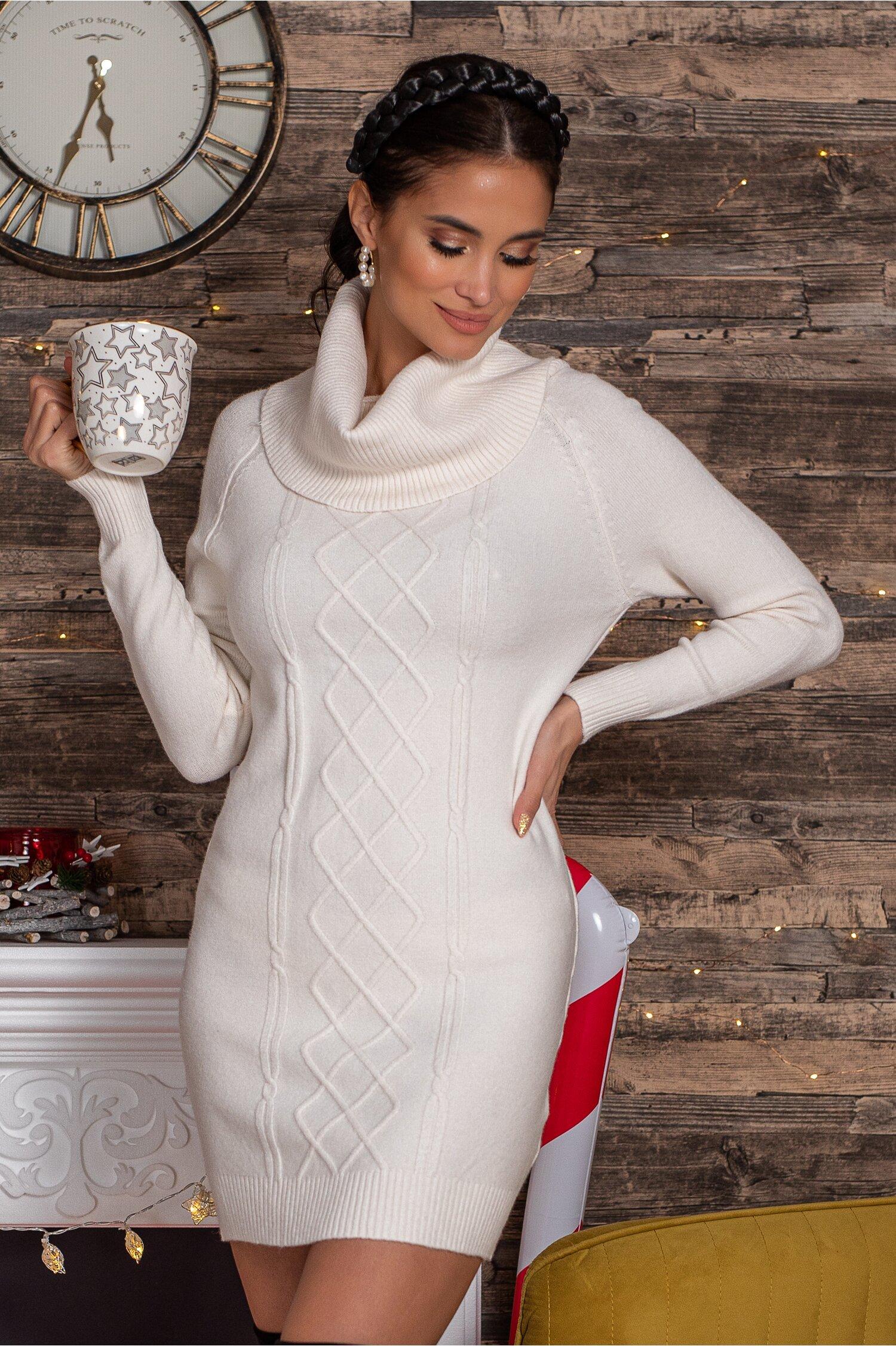 Rochie Sara bej din tricot cu guler maxi imagine