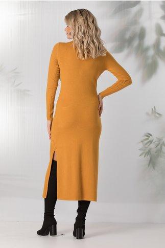 Rochie Sara tricotata galben mustar cu buzunare