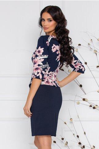 Rochie Sheyla bleumarin cu imprimeu floral si peplum in talie