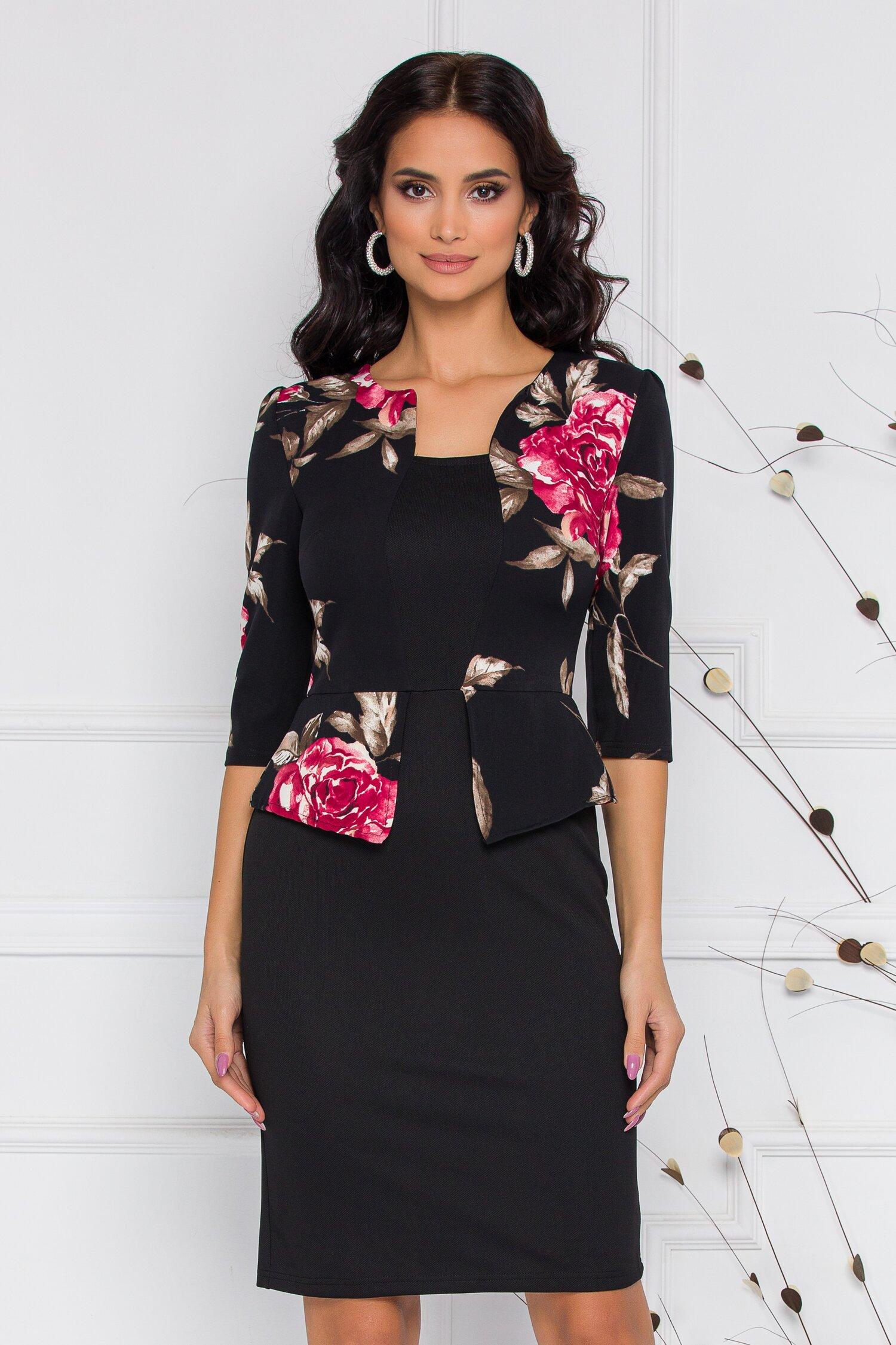 Rochie Sheyla neagra cu imprimeu floral rosu si peplum in talie