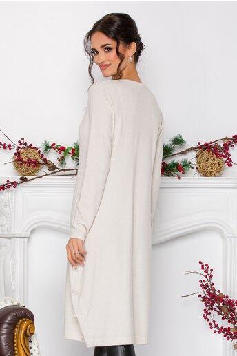 Rochie Simina ivory din tricot cu nasturi decorativi la baza