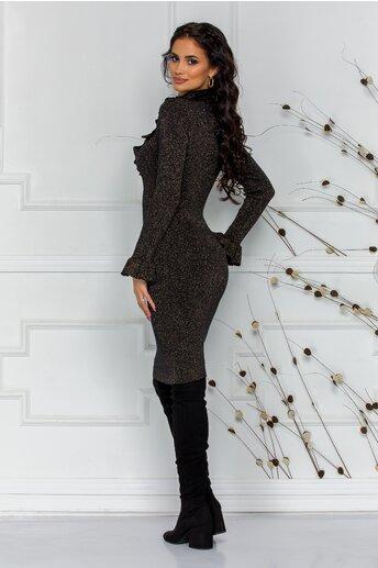 Rochie Simina neagra cu fir lurex auriu si perlute la bust
