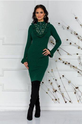 Rochie Simina verde cu perlute la bust si volanase