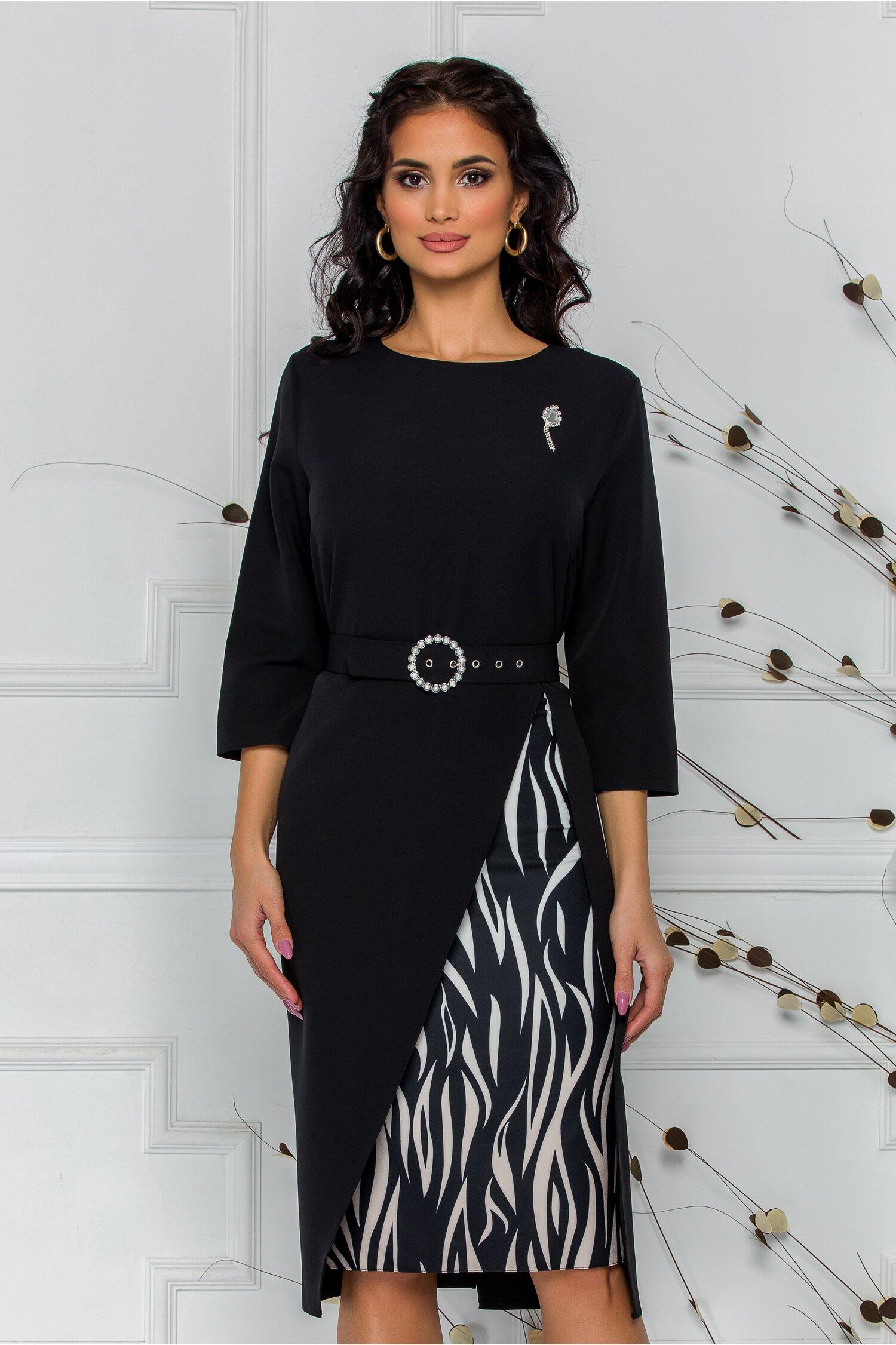 Rochie Simona neagra cu imprimeu pe fusta