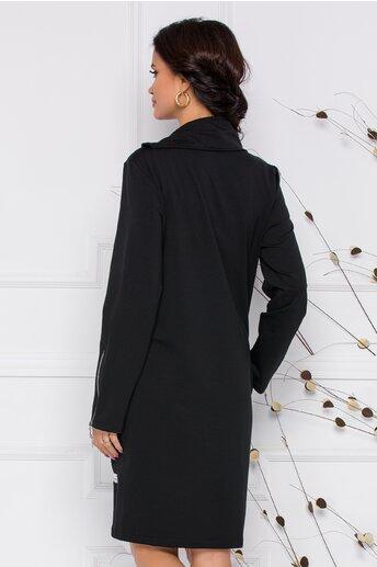 Rochie Stefany neagra cu fermoar si imprimeiu fashion