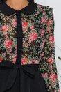 Rochie Stephany neagra cu bustul din voal imprimat floral