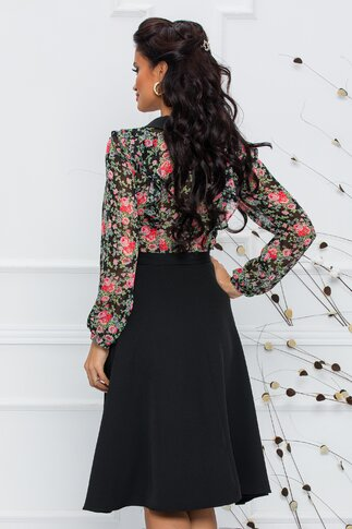 Rochie Stephany neagra cu bustul din voal imprimat floral