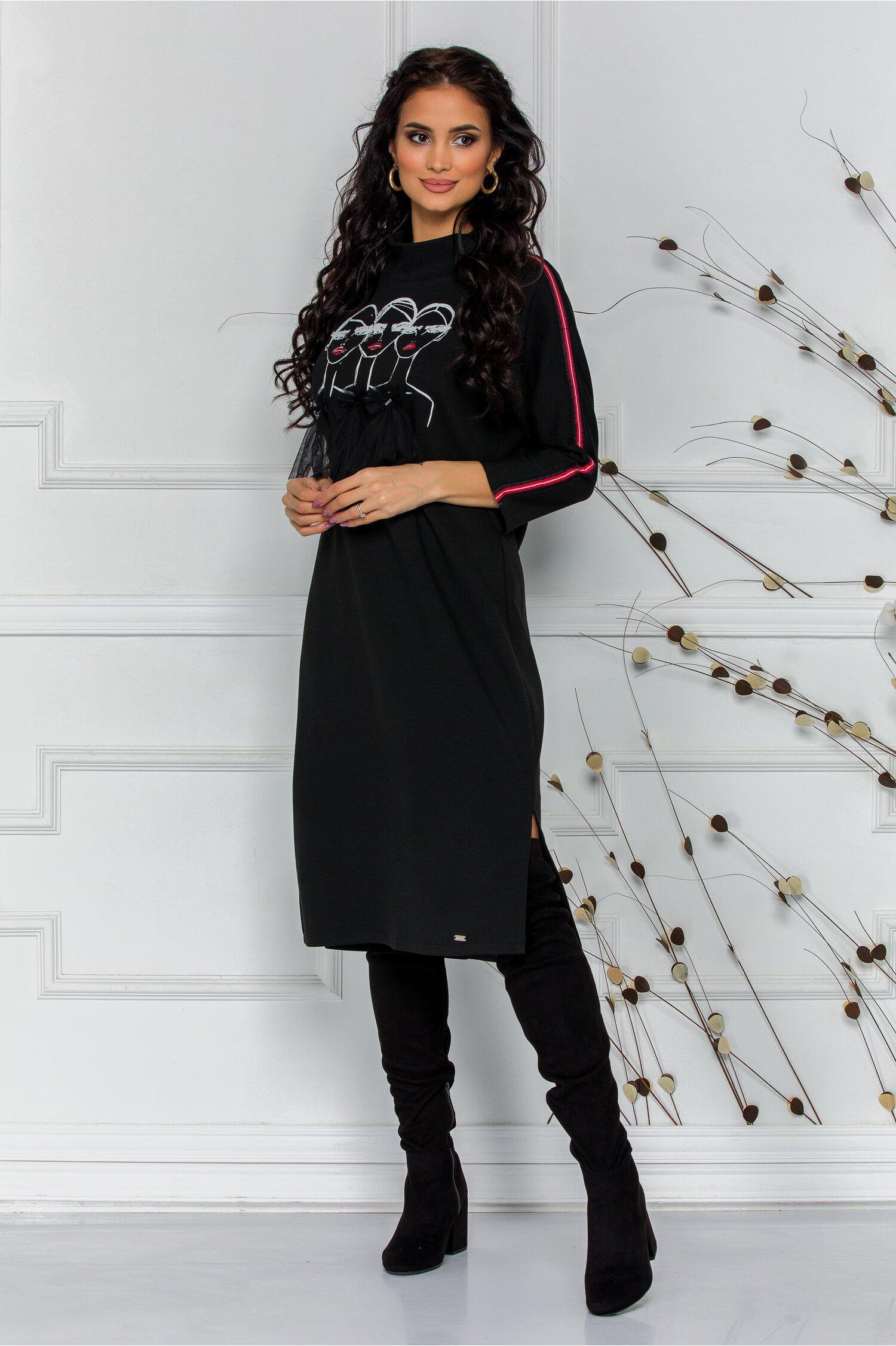 Rochie Tara neagra casual cu imprimeu fashion