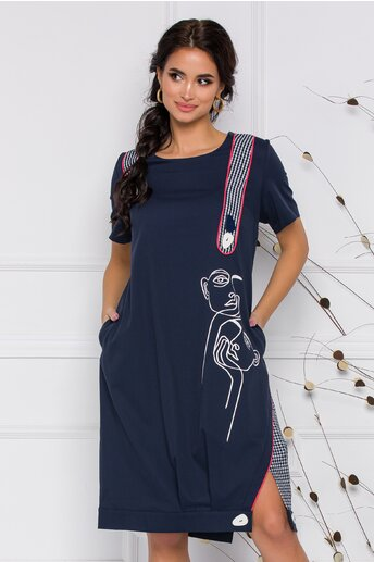 Rochie Teresa bleumarin cu detalii fashion