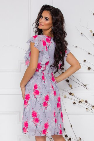 Rochie vaporoasa gri cu volane la maneci si imprimeu floral