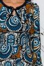 Rochie Victoria neagra cu imprimeu floral in nuante de albastru si maro