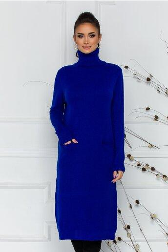 Rochie Viki albastra cu guler inalt si buzunare