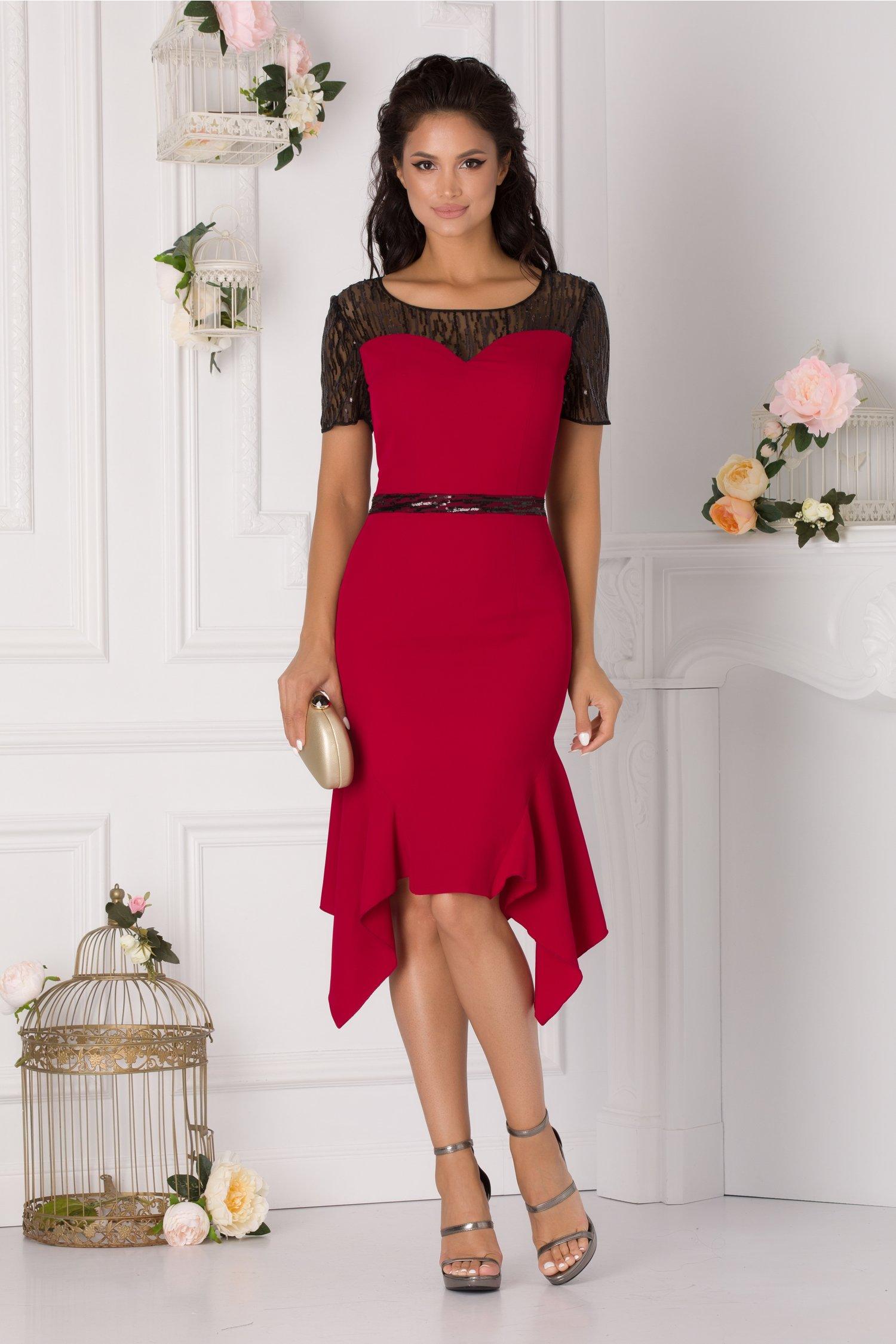 rochie violeta bordo cu paiete si croi asimetric 327569 4