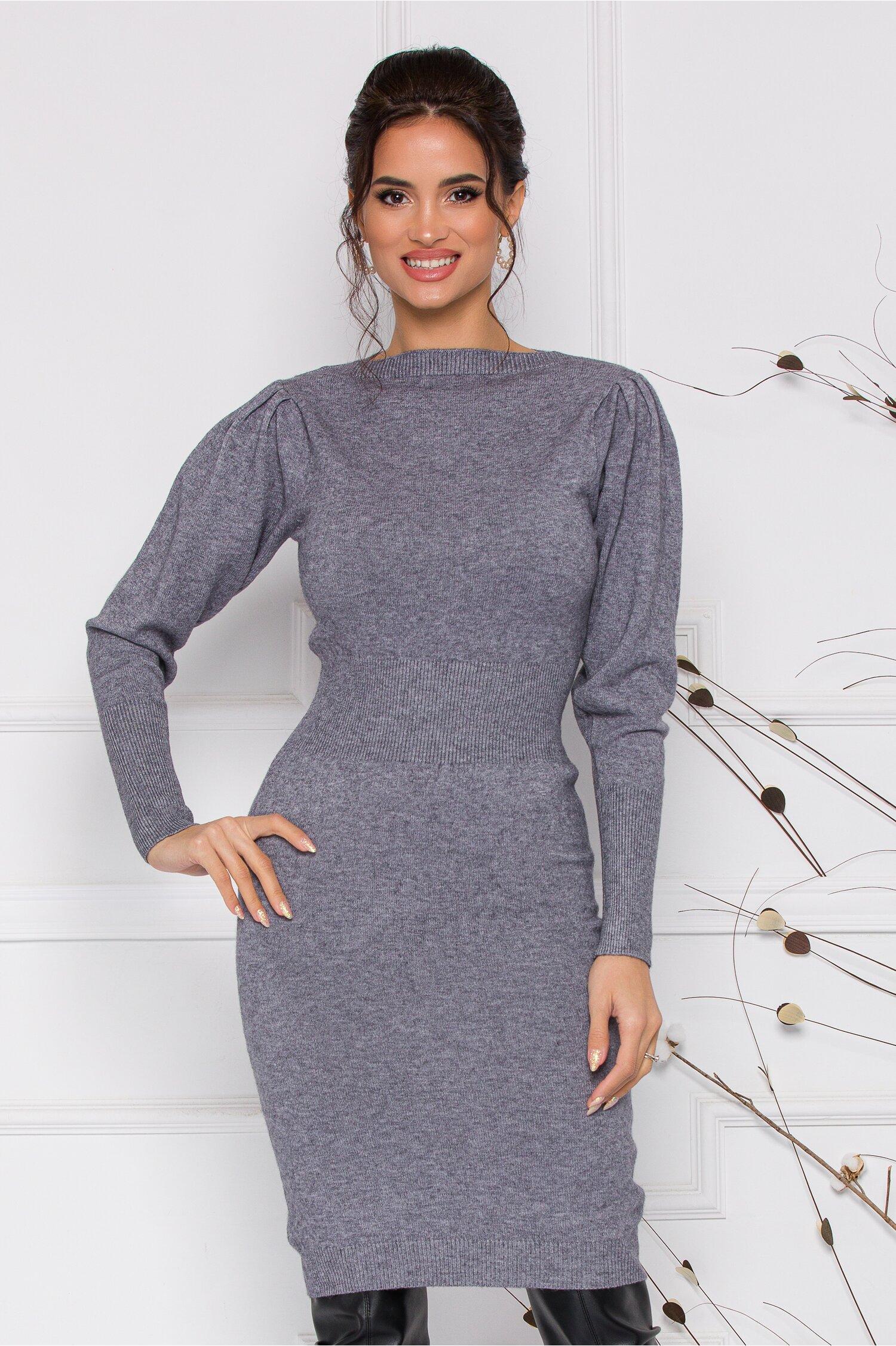 Rochie Ximo gri din tricot cu talie marcata imagine