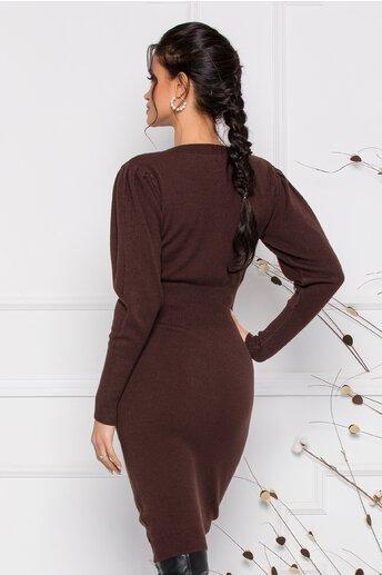 Rochie Ximo maro din tricot cu talie marcata