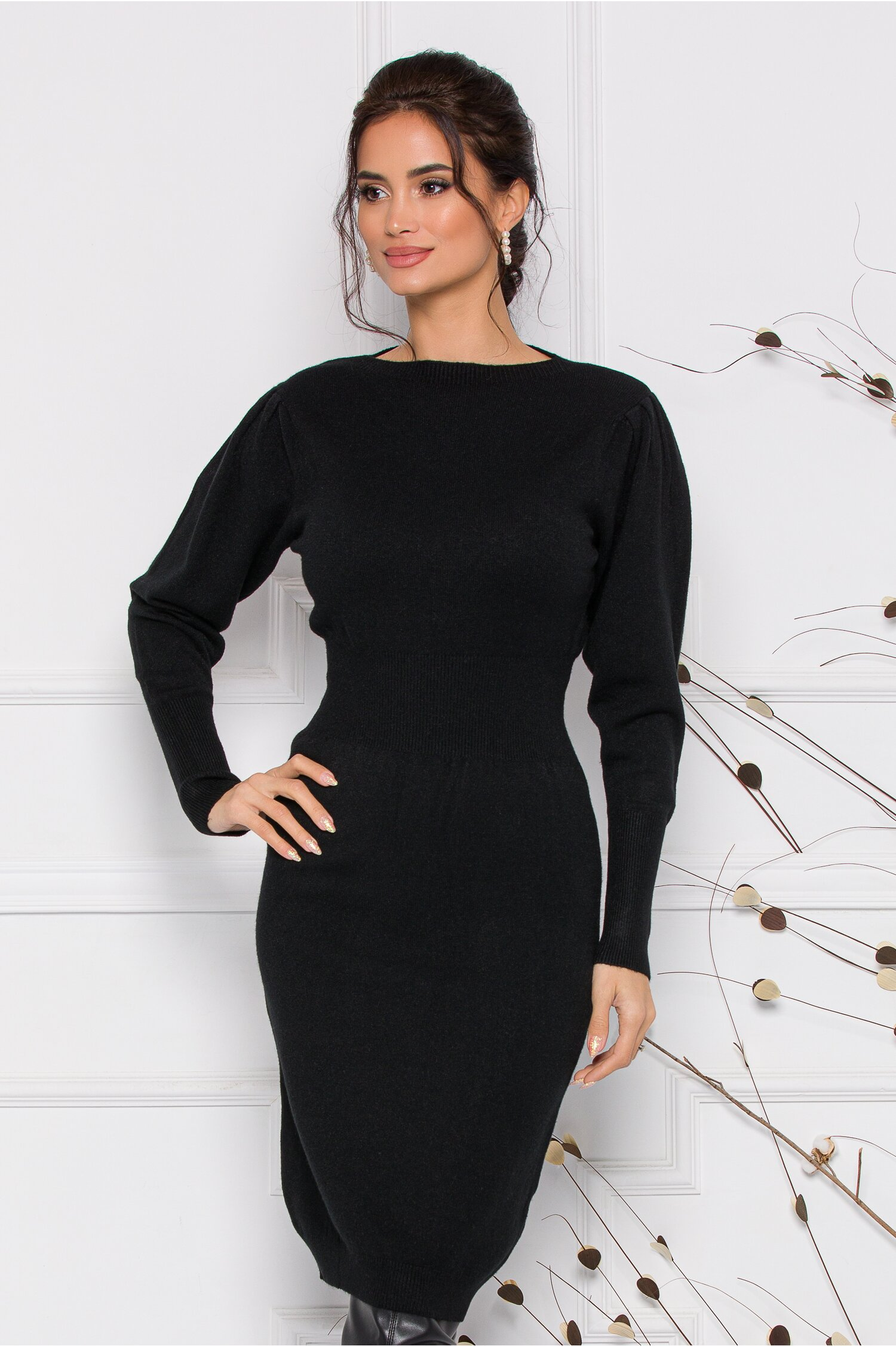 Rochie Ximo neagra din tricot cu talie marcata imagine