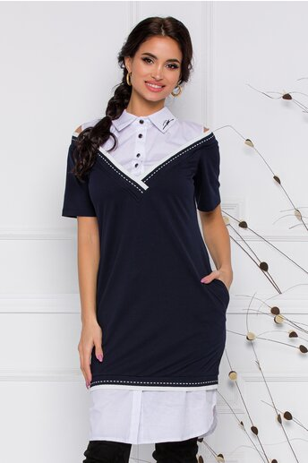 Rochie Zari bleumarin cu design tip camasa