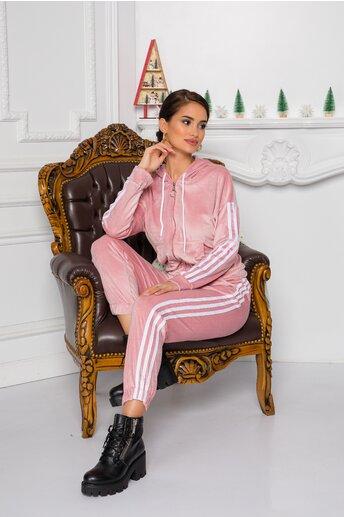 Trening Gio roz cu dungi pe maneci si lateralele pantalonilor