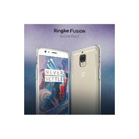 Husa OnePlus 3 Ringke FUSION SMOKE BLACK+BONUS folie protectie display Ringke