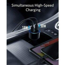 Incarcator auto Anker PowerDrive+ III Duo, 48W, 2x USB-C, PowerIQ 3.0, PowerDelivery, Negru
