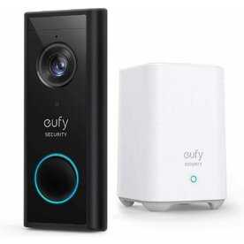 Kit Sonerie video eufy + HomeBase, Wireless, 2K HD, autonomie 6 luni, Negru