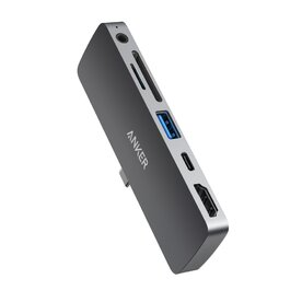Media Hub Anker PowerExpand Direct pentru iPad Pro, 6-in-1, 60W Power Delivery, USB-C, 4K HDMI, Audio 3.5mm, USB 3.0, microSD
